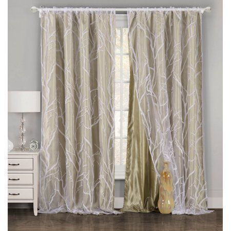 One Piece 1 Taupe And White Window Curtain Panel Tree Branch