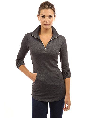 PattyBoutik Women's Zip Pocket Tunic (Heather Dark Gray S)