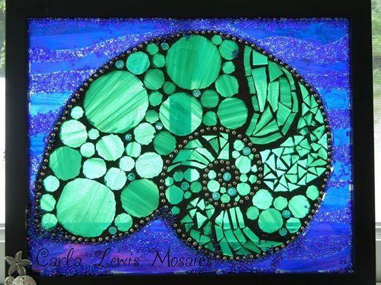 Mosaic Nautilus Sun Catcher by Mosaicology on Etsy, $50.00
