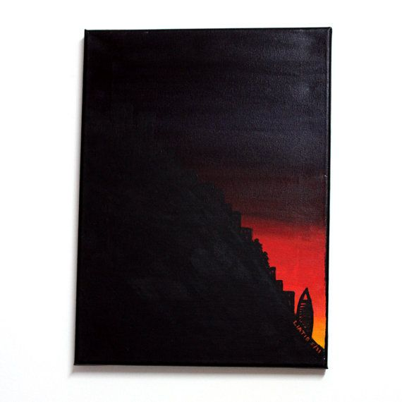 Haifa sunset 12x16 inch original acrylic painting on by liatib, $180.00
