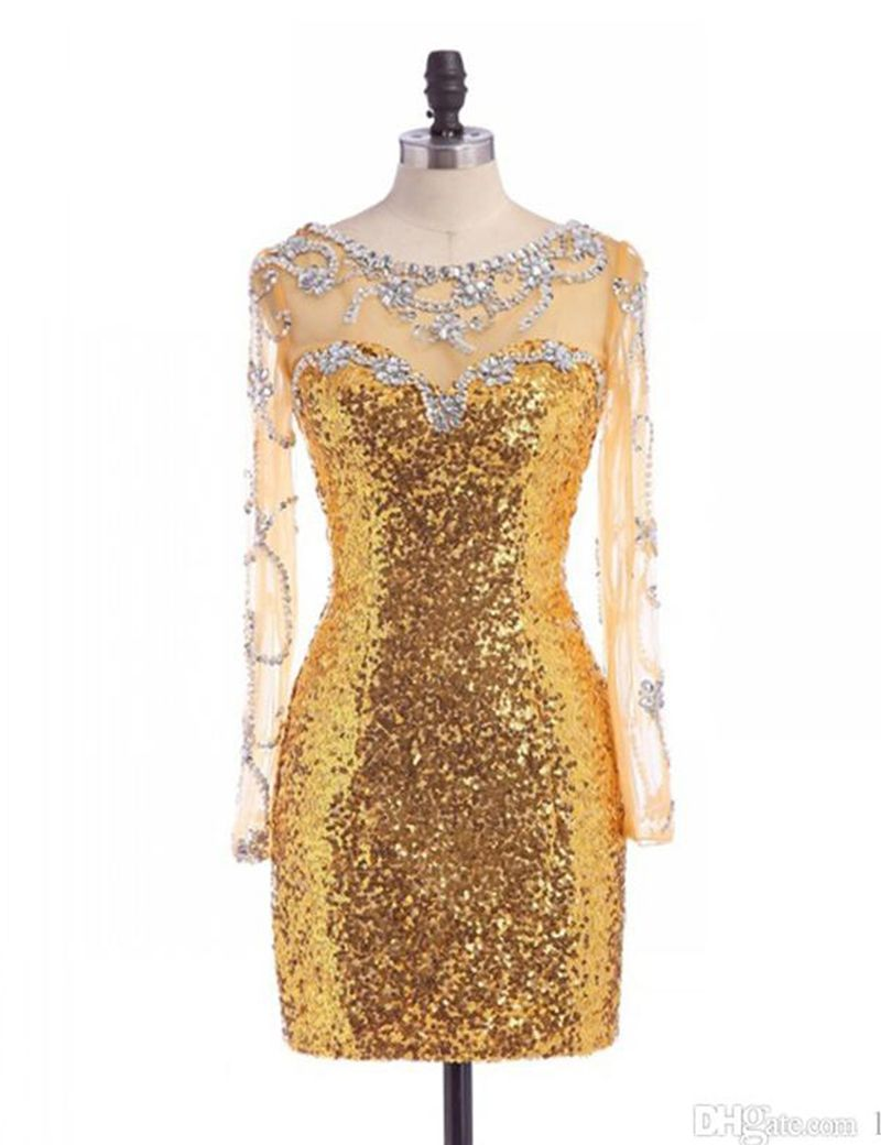 Gold sequined long sleeves backless homecoming dress fall