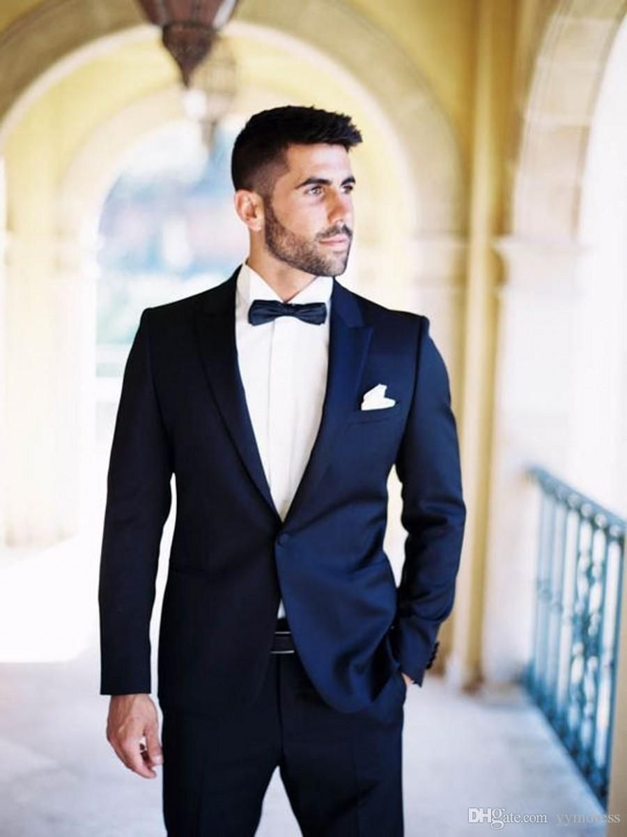 2019 Two Buttons Dark Blue Groom Tuxedos With Peaked Lapel One Button Best Man Suits Groomsmen Men Wedding Suits (Jacket Pants Bow) #men'ssuits