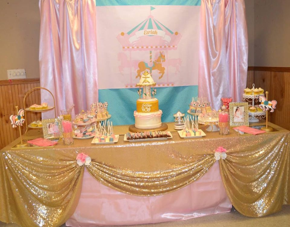 Pink And Turquoise Carousel Baby Shower Candy Buffet
