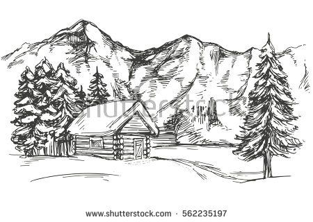 House In Mountain The Snow Landscape Hand Drawn Vector Illustration Realistic Sketch Mountain Drawing Landscape Pencil Drawings Landscape Drawings