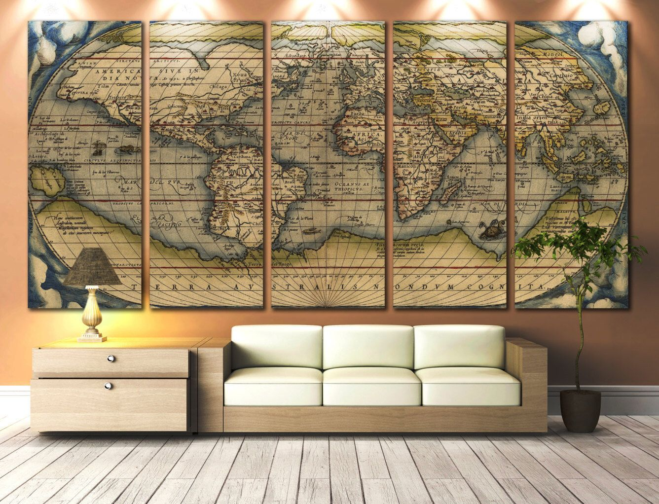 Large wall art world map canvas print vintage world map