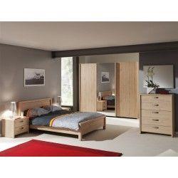 chambre coucher complte avec armoire 3 portes coulissantes coloris chne italien