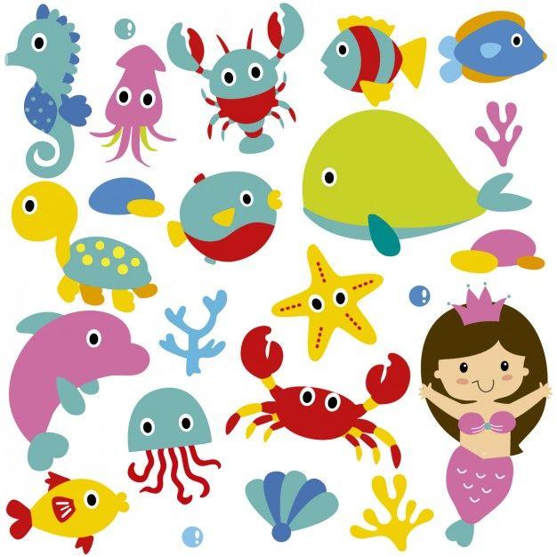 Animales De Mar Lindos Y Sirena Sea Animals Cute Animal Clipart Mermaid Vector