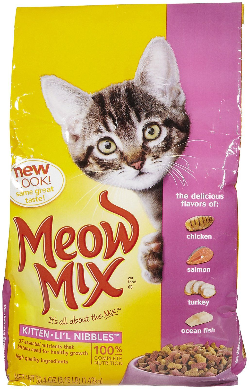 Meow Mix Kitten Li L Nibbles Provides 100 Complete Nutrition With 37 Essential Nutrients That Growing Kittens Need Salmon Cat Kitten Cat Food