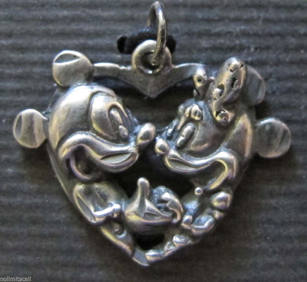 DISNEY Sterling Silver MICKEY MINNIE Heart  FLORIDA CALIFORNIA TRAVEL LOVE Charm