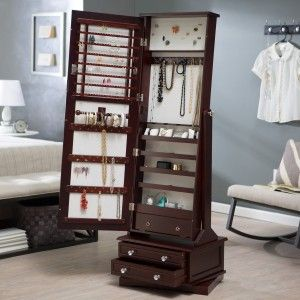Belham Living Swivel Cheval Standing Mirror Jewelry Armoire in a
