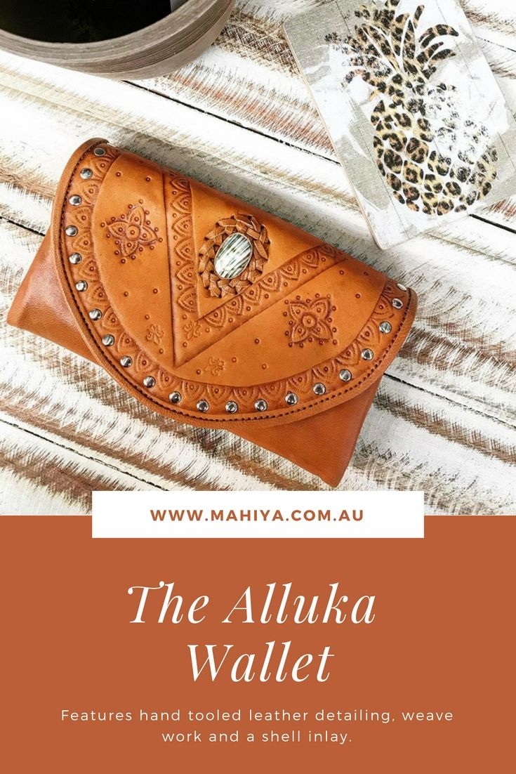 90e9b6f83b9f4f Introducing our new Alluka hand tooled wallet 🌻 our first small drop of  these gorgeous leather and shell beauties has just arrived online. # shopstyle ...