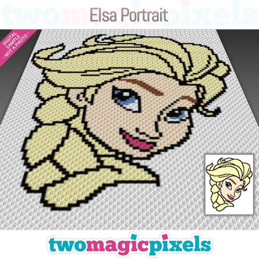 Elsa Portrait C2C Crochet Graph | Crochet blanket patterns | C2c