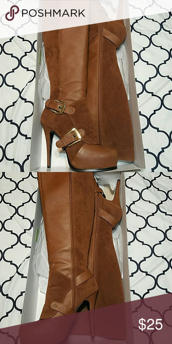 Brown knee high boots. Size 9. Shoedazzle knee high brown boots. Like New! In box. Shoe Dazzle Shoes Heeled Boots