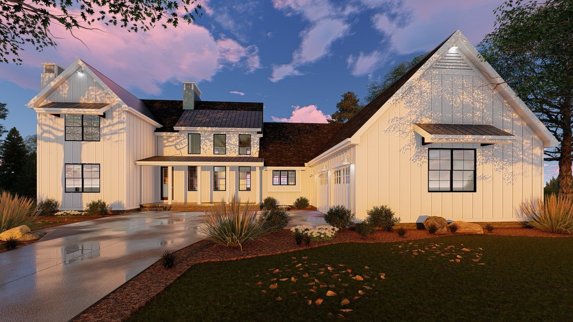 This l shaped 1 5 story modern farmhouse plan is highlighted on the