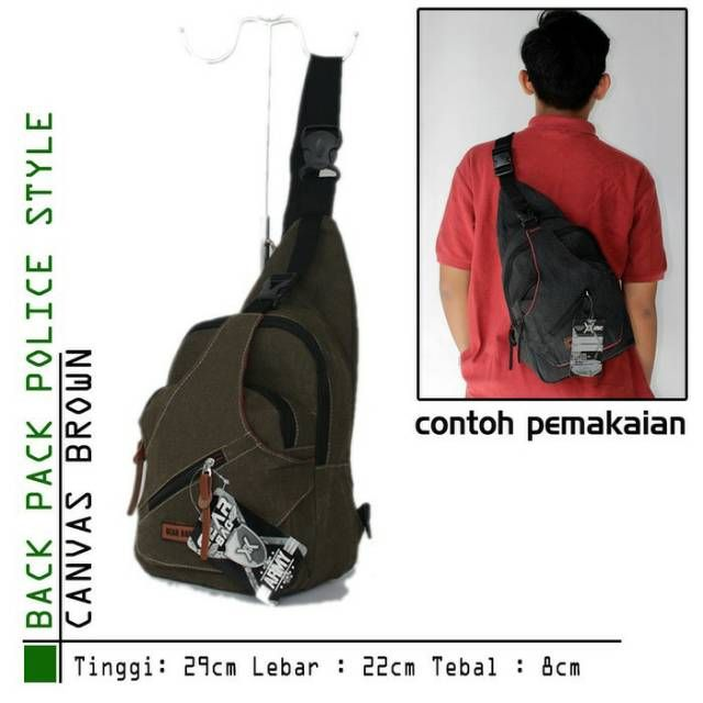 Tas Selempang pria canvas brown backpack police style  c7c112687a