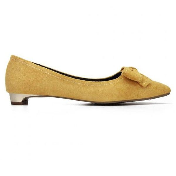 Yoins Yellow Bowknot Pointed Toe Suede Flat Shoes (€24) ❤ liked on Polyvore featuring shoes, flats, yoins, yellow, pointy-toe flats, suede flat shoes, flat pointed-toe shoes, embellished flats and flat shoes