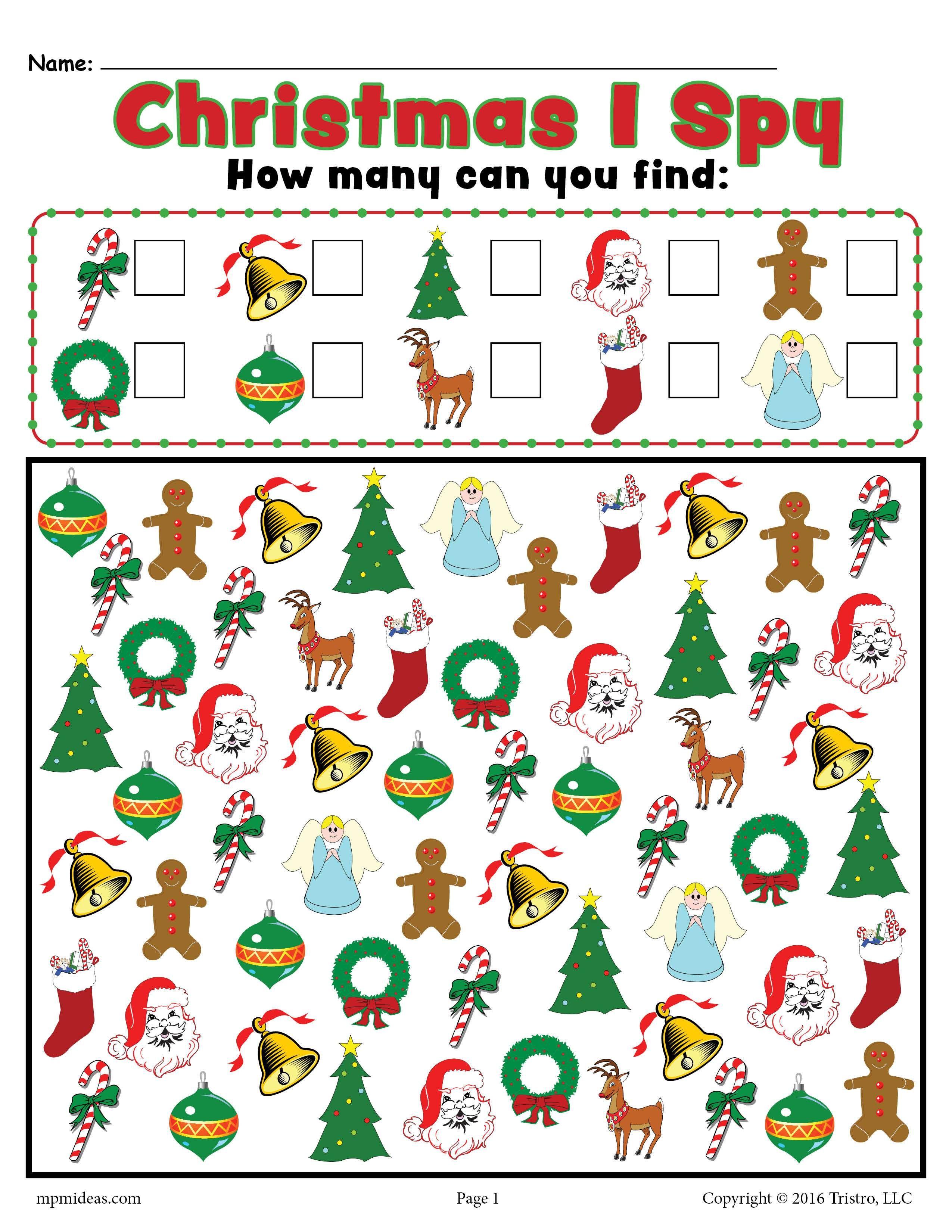 Christmas I Spy Printable Christmas Counting Worksheet Christmas Worksheets Christmas Kindergarten Preschool Christmas Crafts [ 3300 x 2550 Pixel ]