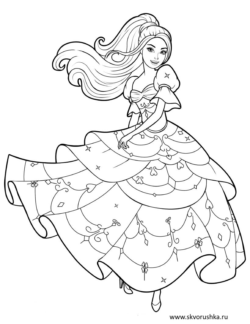 Raskraski Dlya Devochek Princessy V Krasivyh Platyah Skvorushka Raskraski Besplatnye Raskraski Princessa Raskraski