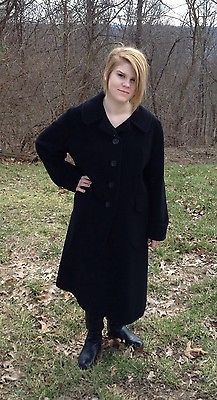 Vintage 70s 80s Black Cashmere Swing Coat Long Size M or L Lined ...