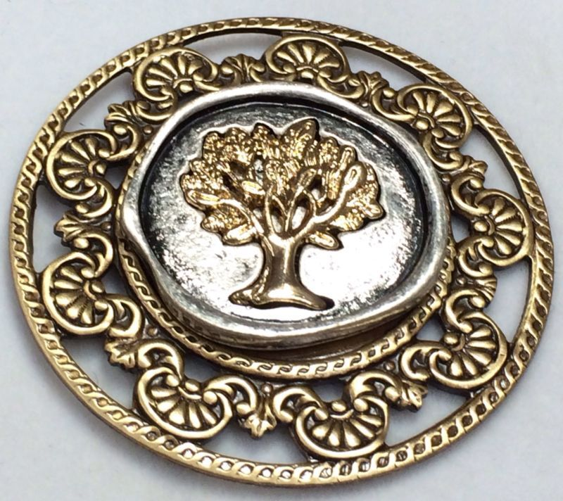 """Large Stamped Brass Vintage Style Border Button""""The Tree of Life"""" 1 3 4""""   eBay"""