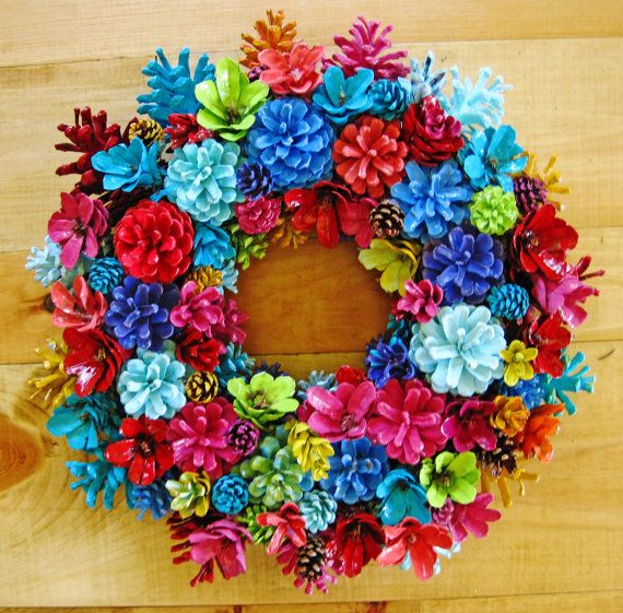 Handmade Bright Colorful Summer Pine Cone Wreath Center By