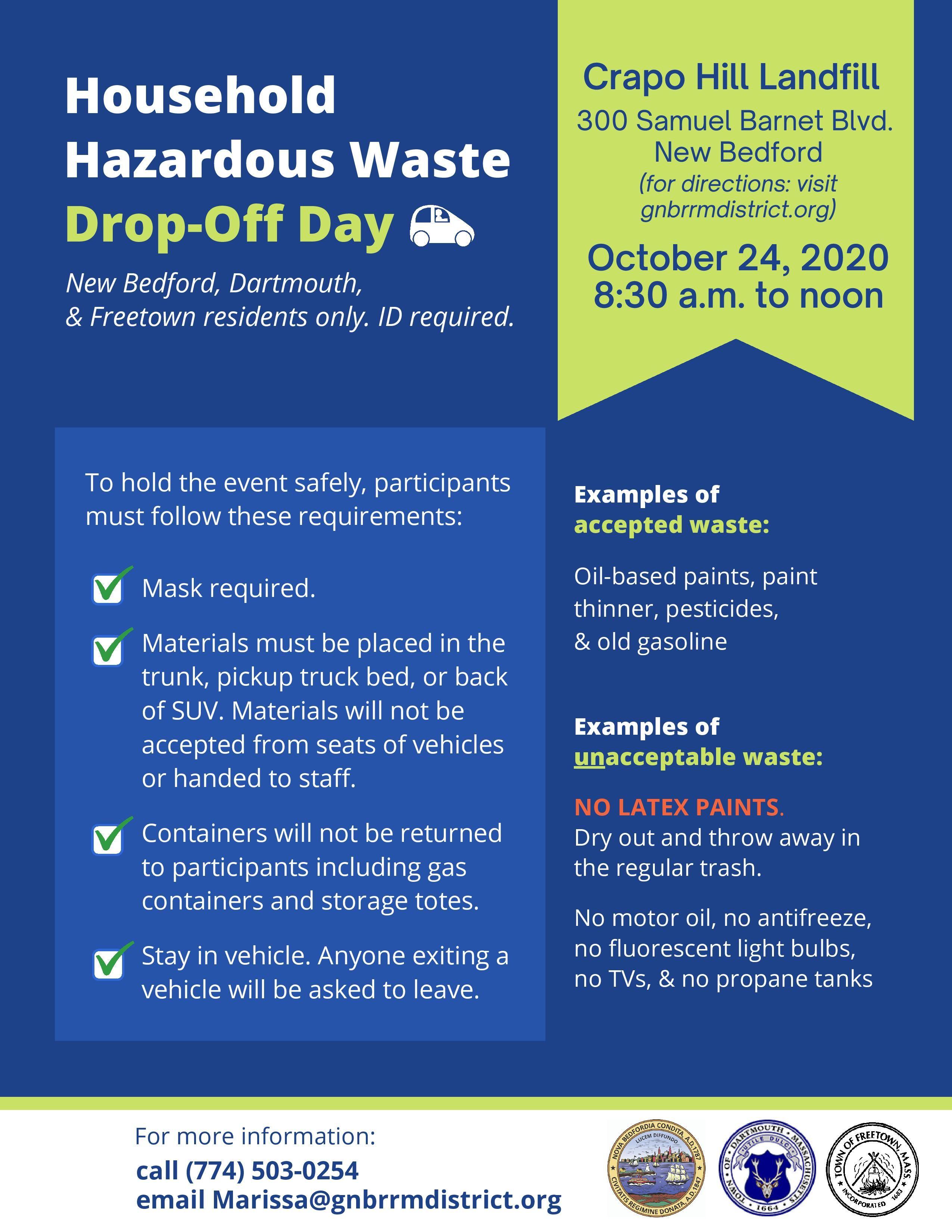 Household hazardous waste dropoff day in 2020 household
