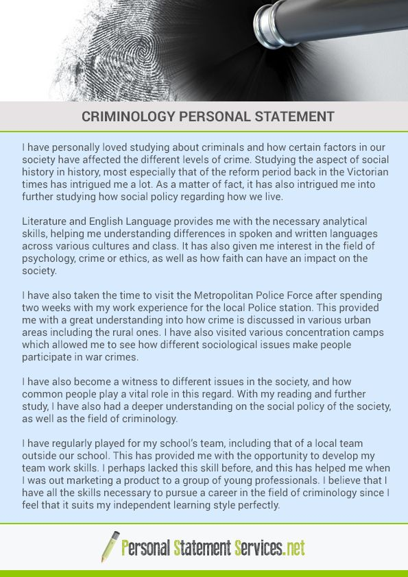 If you want, you need a seat for criminology program You need a - examples of personal statements