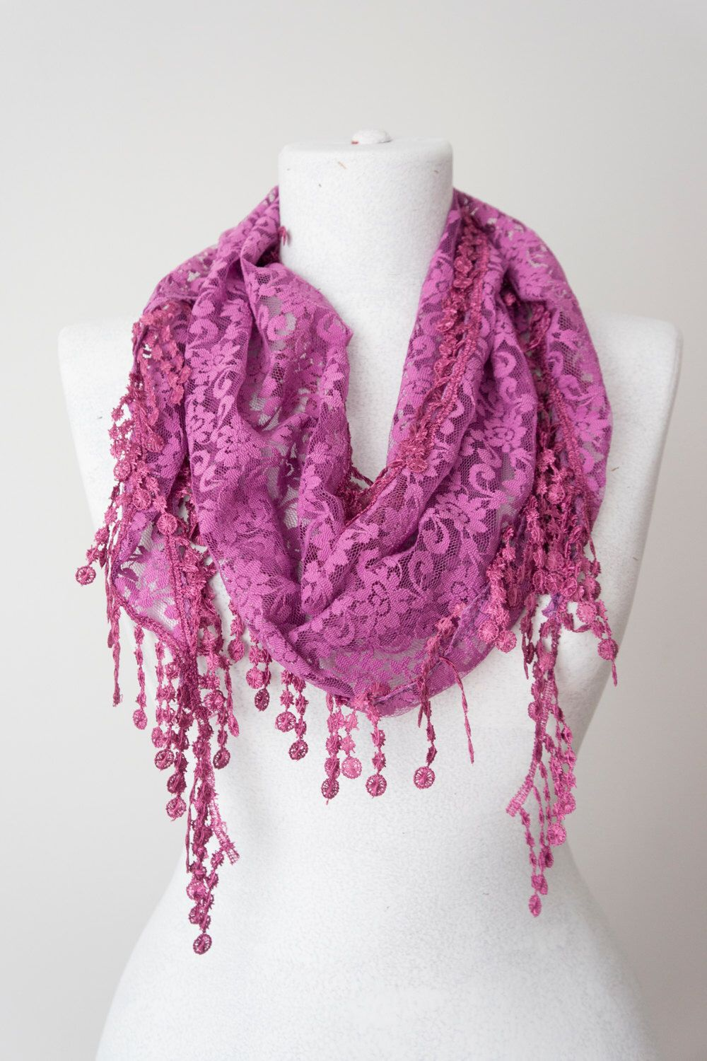 Lace Scarf Lilac Scarf Lace Fringe Scarf Triangle Scarf Fringe Shawl Lace Headband Fashion Accessory Summer Scarf Mother's Day Gifts by Oxoo on Etsy https://www.etsy.com/listing/228728738/lace-scarf-lilac-scarf-lace-fringe-scarf