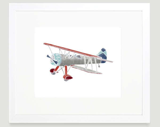 Vintage Airplane Print Digital Wall Art Decor Toddler Nursery Kids