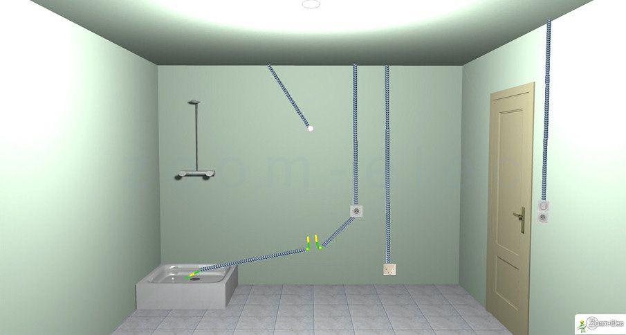 circuit electrique d 39 une salle de bain sch ma de l 39 lectricit de la salle d eau bricolage. Black Bedroom Furniture Sets. Home Design Ideas