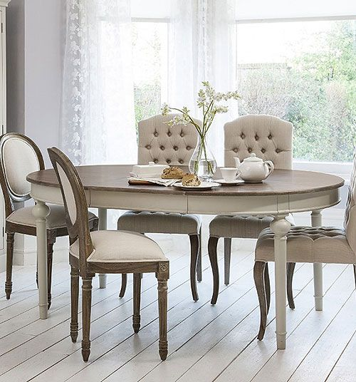 50 Cool And Creative Shabby Chic Dining Rooms: Cool Grey Extending Round Dining Table