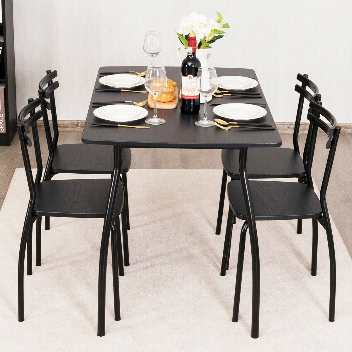 5 Pcs Dining Table Set With 4 Chairs Dinner Table Chairs Dining Table Setting Black Kitchen Furniture