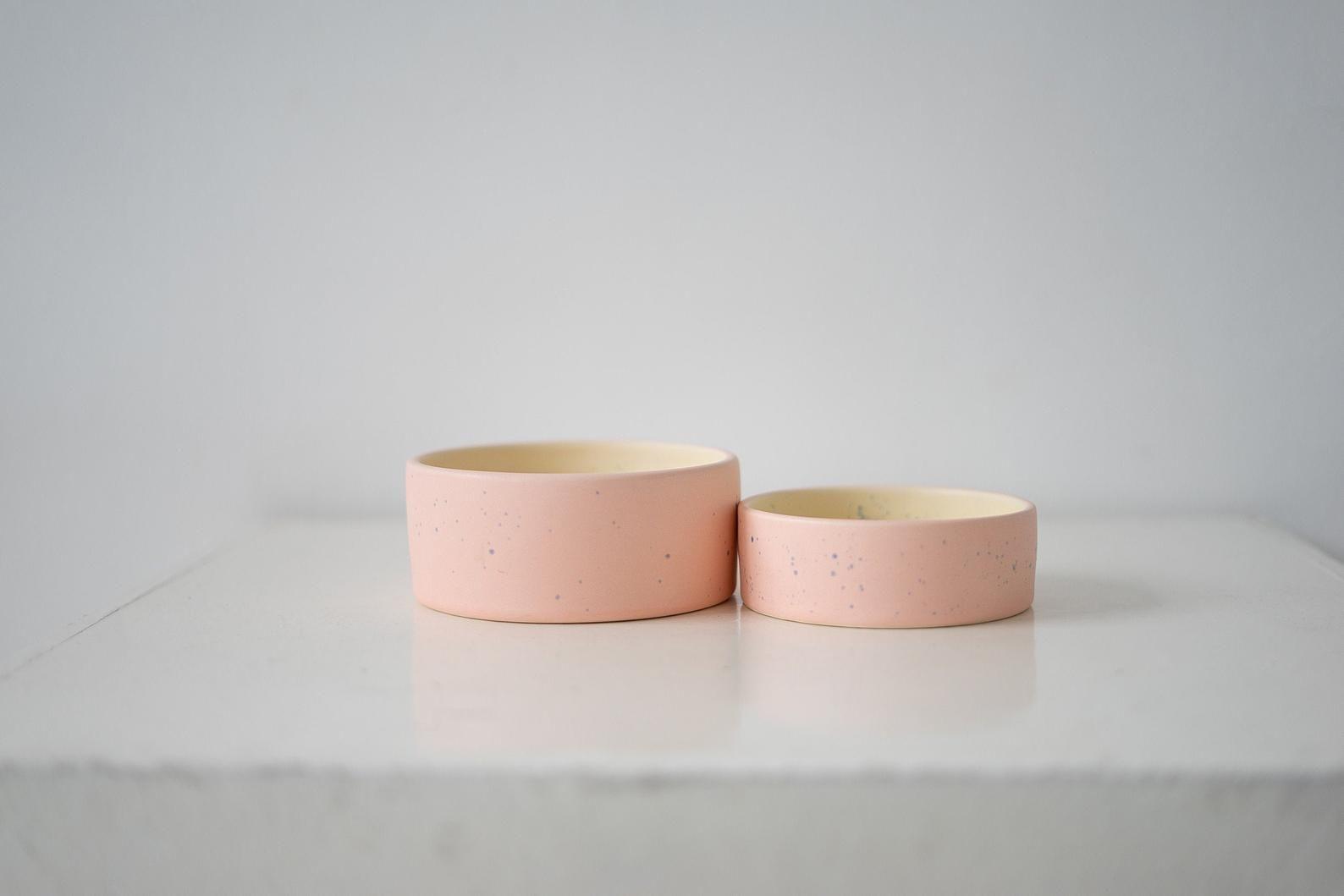 Pet Bowl Matte S M L Ceramic Pink Etsy Pet Bowls Cat Bowls Dog Bowls