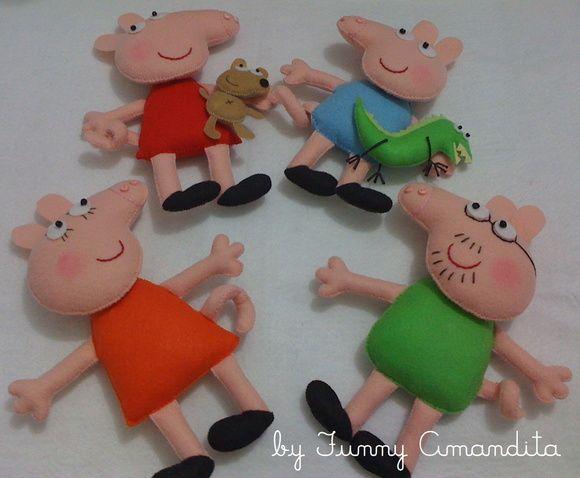 Pepa Pig e família. Confecção: Funny Amandita