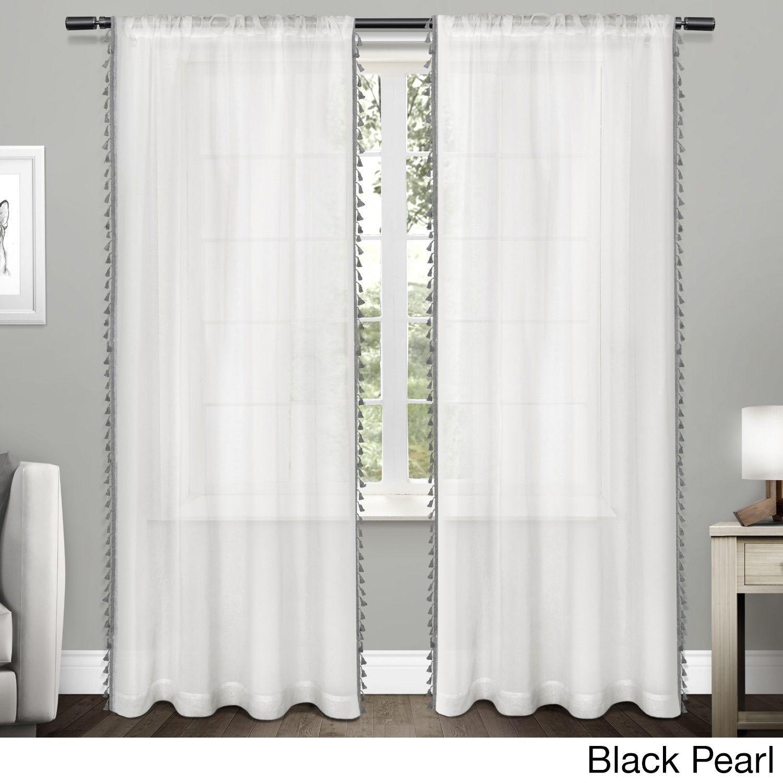 Ati Home Rod Pocket Curtain Panel Pair With Tassels Tassels Black