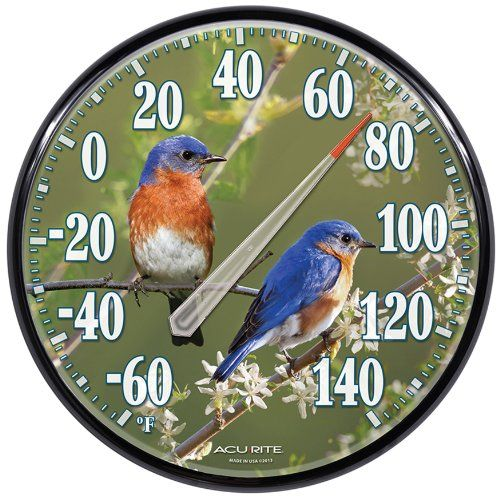 Save $ 13.21 when you buy AcuRite 01598 12.5-Inch Wall Thermometer, Bluebirds at