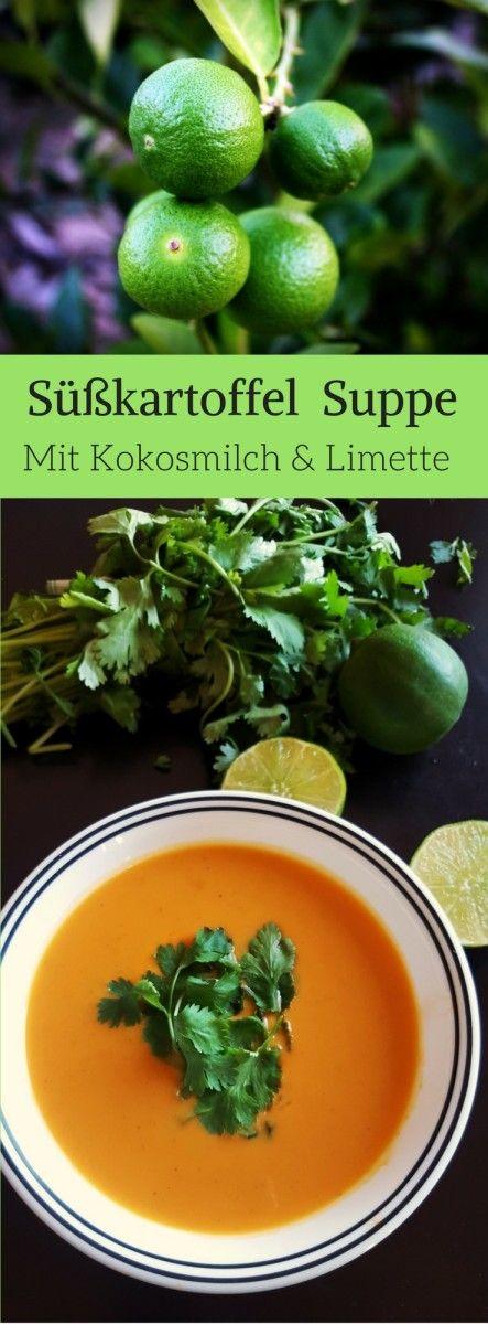 Thai Süßkartoffel Suppe mit Kokosmilch und Limette