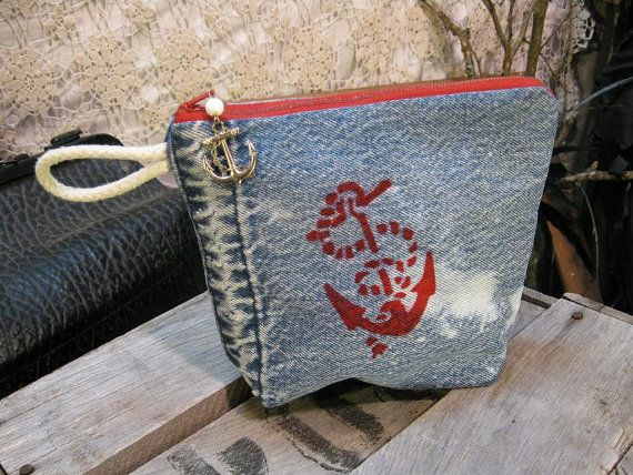Sailor Red Anchor stencil  ticking Tote pouch by funkomavintage, $31.00