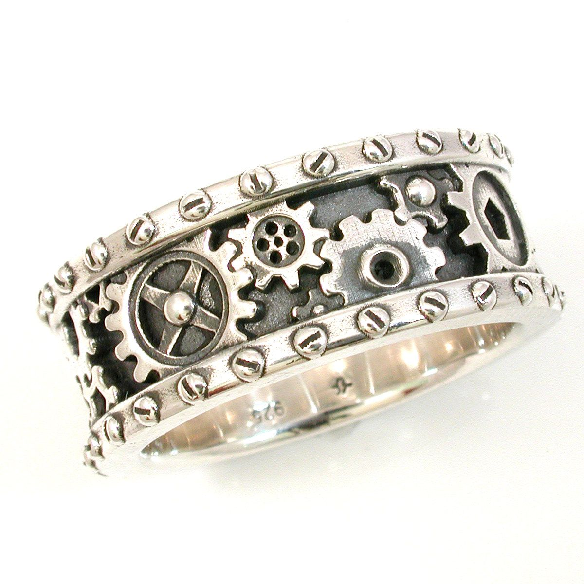 steampunk mens silver ring gears and rivets industrial steam punk handmade gear ring - Steampunk Wedding Rings