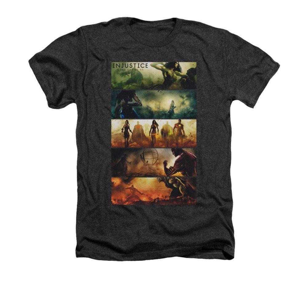 Injustice Gods Among Us - Panels Adult Regular Fit Heather T-Shirt