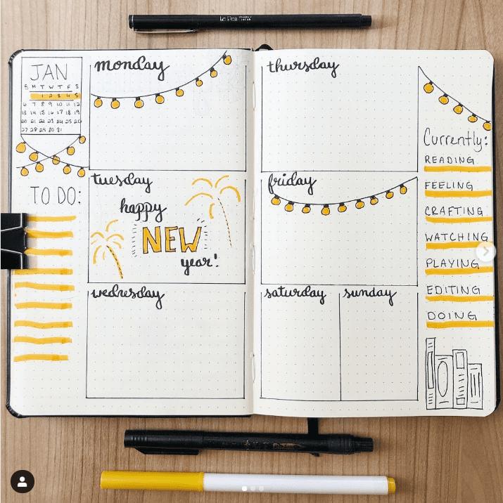 20+ Happy Yellow Bullet Journal Layout Ideas | ElizabethJournals