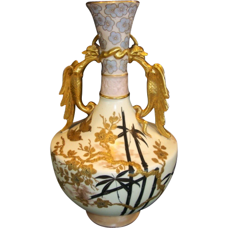 "Fantastic English Vase Earthenware 14"" Tall ~ Asian Pattern ~ Old Hall Potter ~ Hanley Staffordshire England 1884-1886."