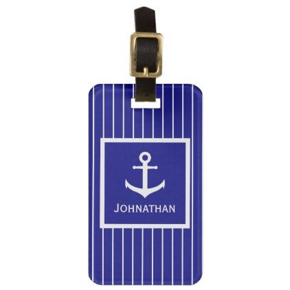 Custom Navy Blue And White Striped Nautical Luggage Tag  Pattern