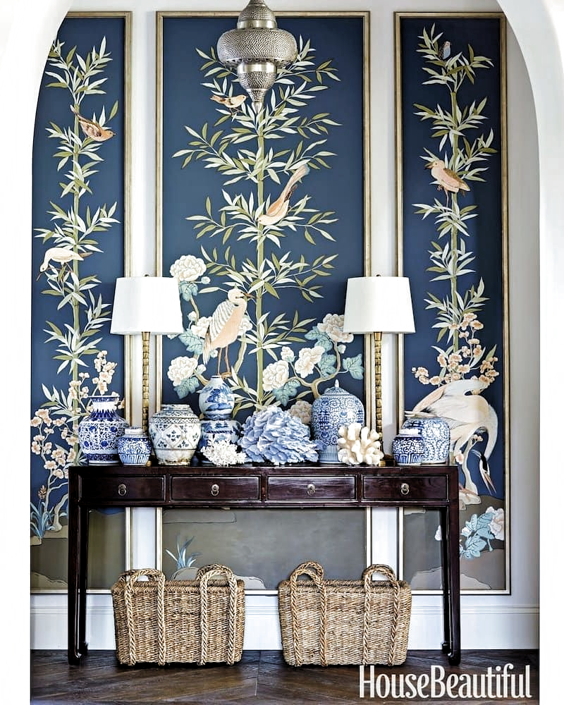 US designer @summerthorntondesign creates casual elegance with an Asian console table as the foundation piece to set off these incredible wall panels.  Image: Luke White for House Beautiful  Divine design inspiration from around the world with Two Design Lovers. Buy and sell marketplace for pre-loved designer furniture. 🔗 Link in BIO to browse our ASIAN furniture selection.  #twodesignlovers #marketplace #colour #interiordesign #interior4all #sydneydesign #australianinteriordesign #sydneystyle