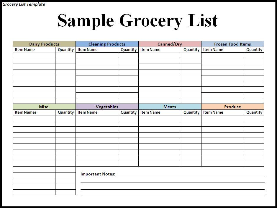 Free Grocery List Template Jpg 939 703 Pixels Grocery Lists