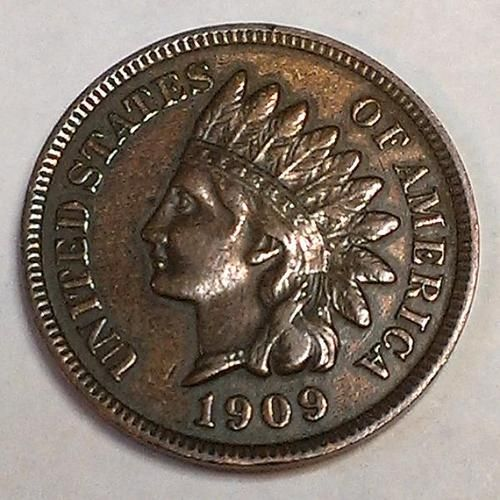 1909 Indian Head One Cent Coin Penny