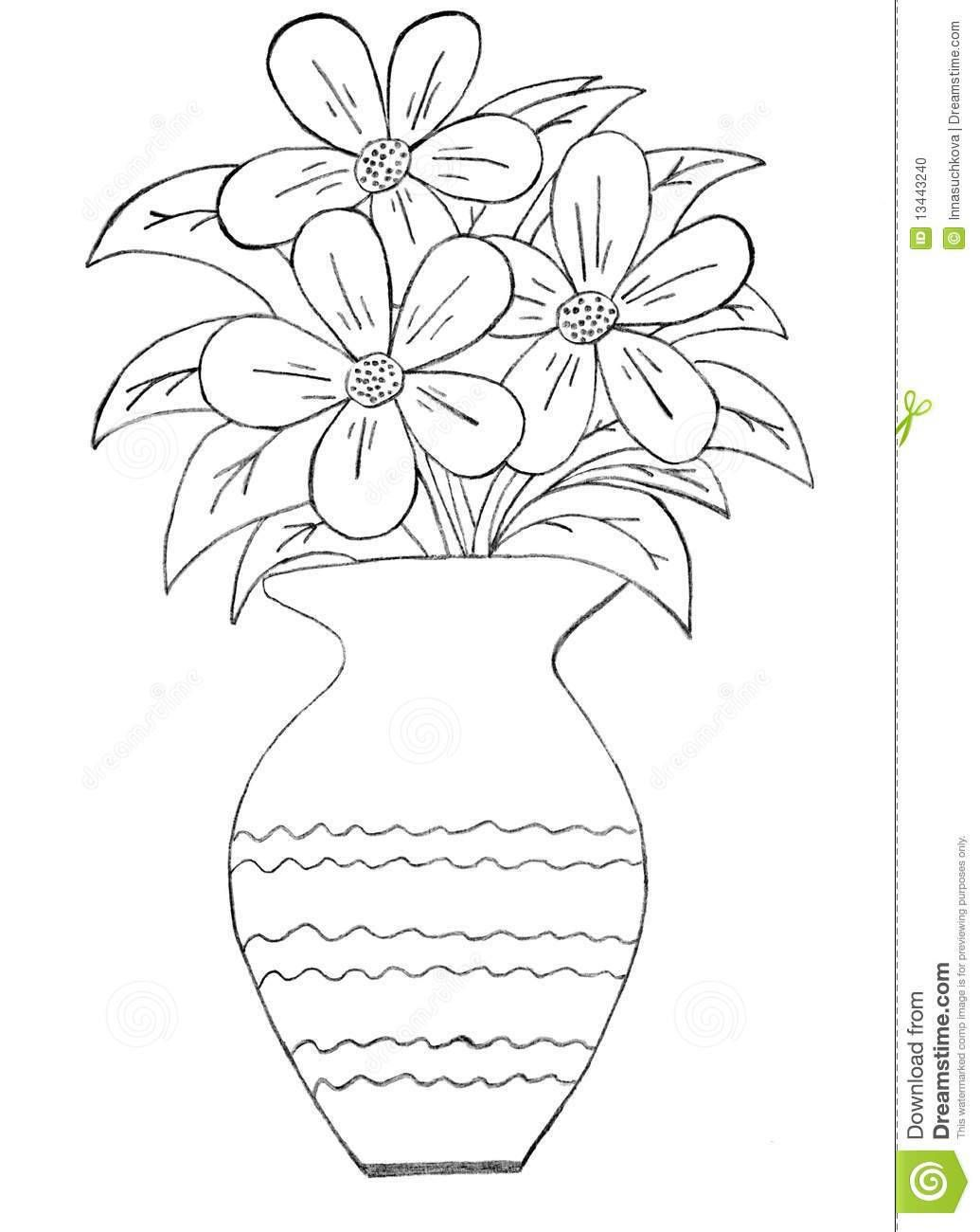 How To Make Flower Pot Drawing Flower vase drawing