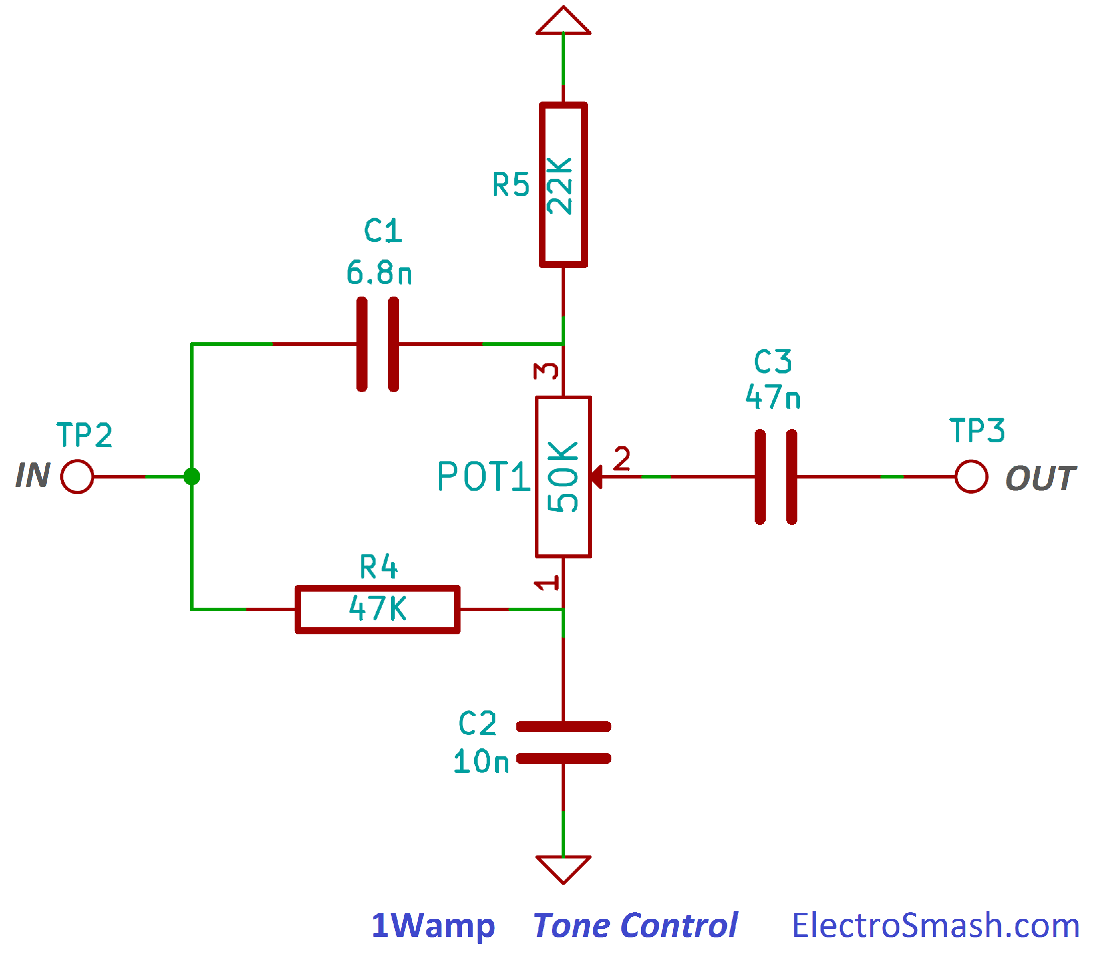 Tone Control Wiring Diagram Library Audio Noise Filter Circuits Eleccircuitcom 1wamp Circuit