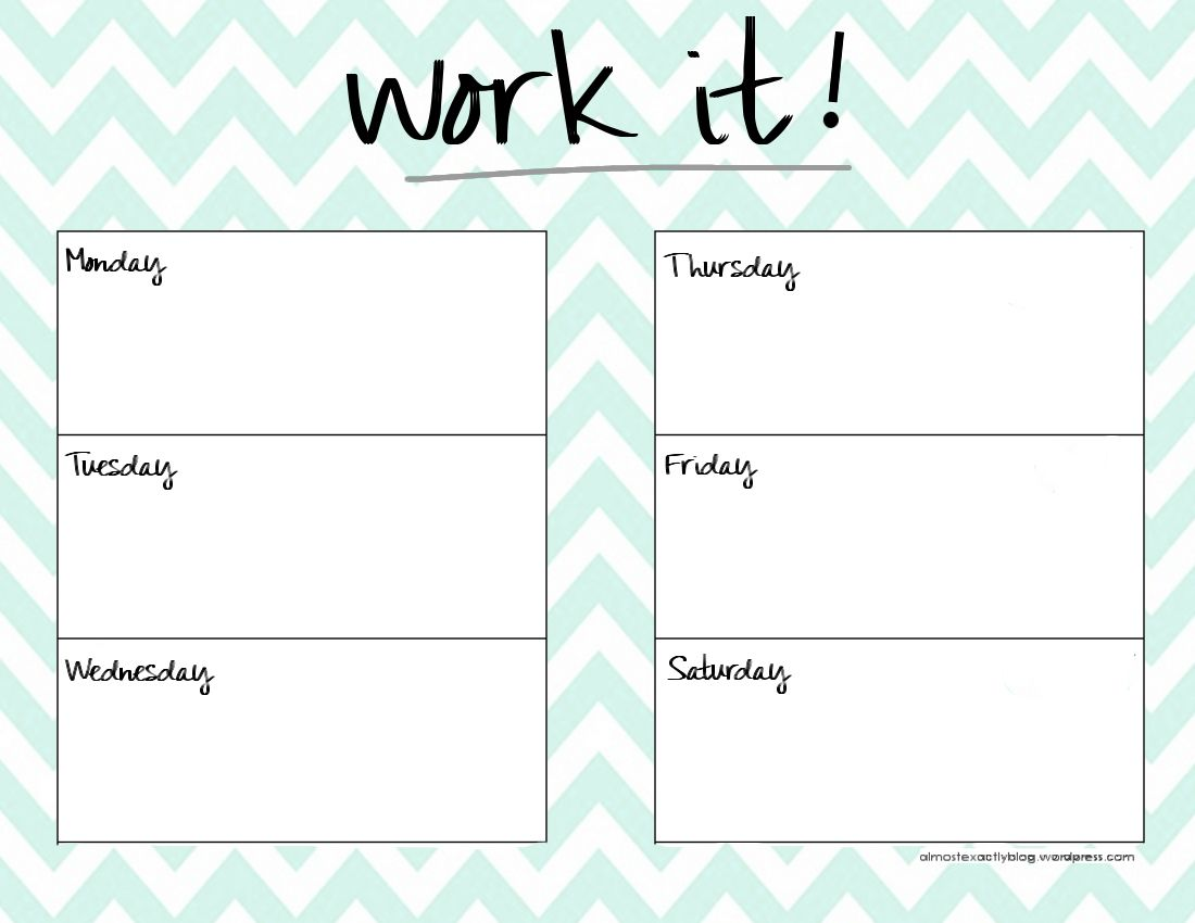 Cute weekly planner template health pinterest for Fitness plan template weekly