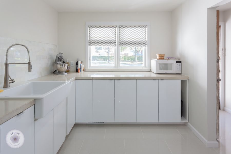 Ikea Abstrakt White Kitchen With DIY Concrete Countertops, DIY Chevron  Roman Shade, And White